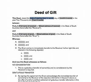 sa deed of gift immediate transfer docdownload With deed of gift template australia