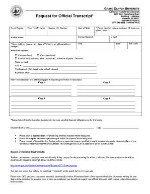 Grand Canyon University Transcript Request Form asu application print fill online printable fillable