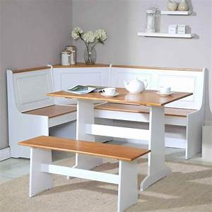 White kitchen table with bench deductourcom for What kind of paint to use on kitchen cabinets for art deco wall clocks for sale
