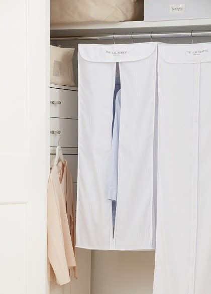 hanging suit storage bag cotton white  laundress