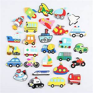 Cartoon Car Plane Ship Fridge Magnet Kid Early Education