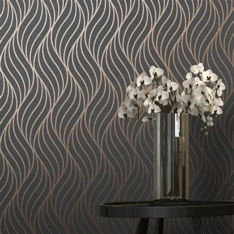 shimmer indulge wallpaper charcoal copper