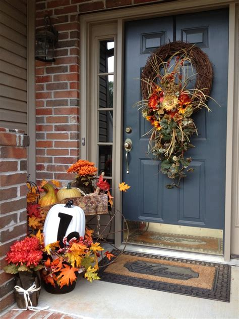 front porch fall decorations fall front porch decor festive fun pinterest the swag fall front porches and grapevine wreath