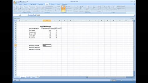 microsoft excel creating  simple expense sheet youtube