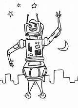 Robot Space Coloring Robots sketch template