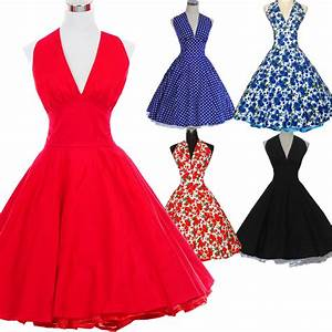2016 marilyn monroe style women polka dot dress 50s 60s for Robe style marilyn monroe