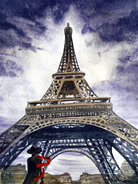 Gray Shower Curtains by Eiffel Tower Paris Painting By Irina Sztukowski