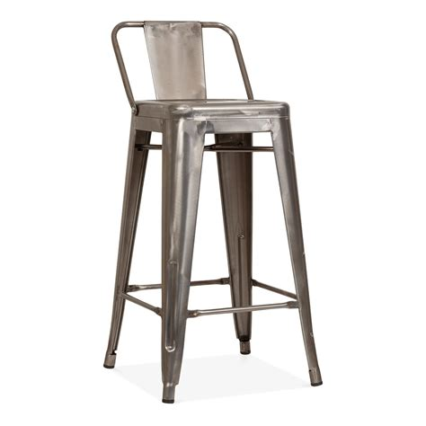 chaise style tolix tolix style metal bar stool with low back rest gunmetal