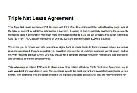 sample net lease agreement templates  ms word