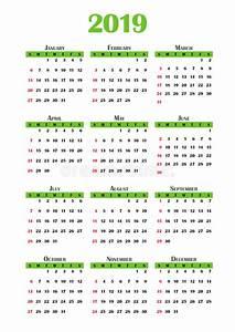 Calendário 2019 ilustração stock Ilustração de verde
