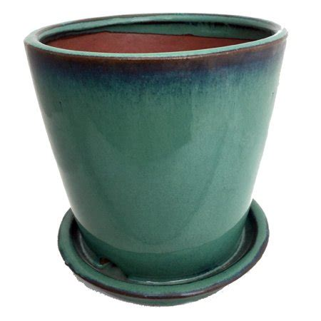 ceramic planter with saucer ceramic planter and saucer 5 5 quot forest green