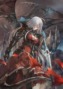 Wallpaper, Long, Hair, White, Hair, Anime, Girls, Wings, Weapon, Armor, Red, Eyes, Sword, Open