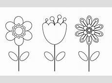Kostenlose Malvorlage Blumen Drei Blumen zum Ausmalen