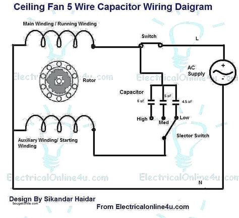 ceiling fan 5 wire capacitor wiring diagram diy