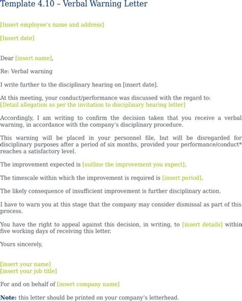verbal warning letter   formtemplate