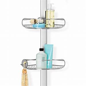 Simplehuman tension shower caddy adjustable tension pole for Floor to ceiling shower caddy