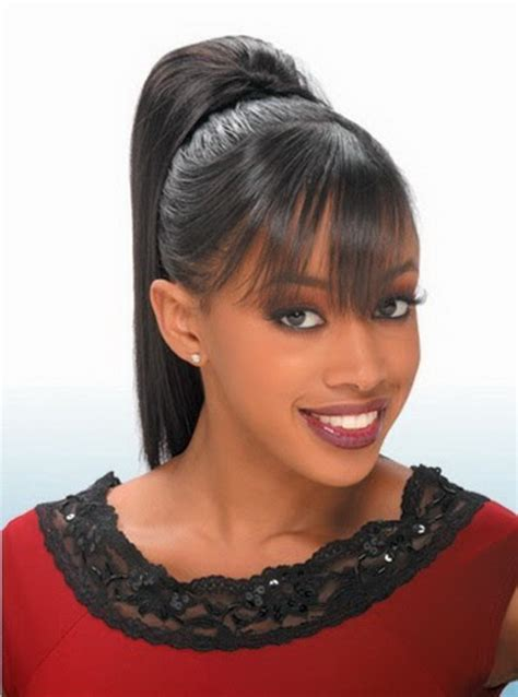 Ponytail Hairstyles For Black Hair by Black Ponytail Hairstyles With Bangs