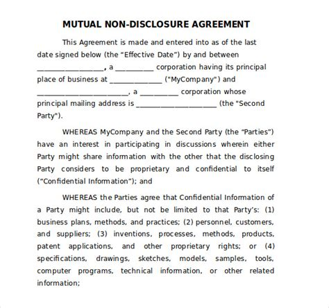 word  disclosure agreement templates