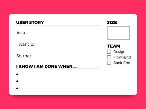 user story card template printable  freebie supply