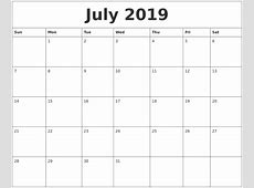 July 2019 Calendar PDF printable weekly calendar