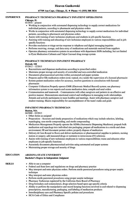 Resume For Pharmacy Technician by Pharmacy Technician Resume Ipasphoto