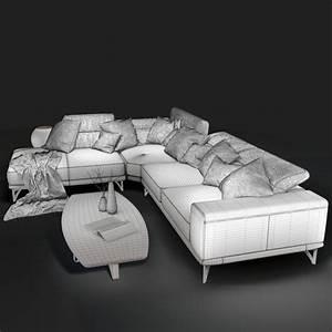 Sofa natuzzi italia italo 2983 3d model cgstudio for Natuzzi italia sectional sofa