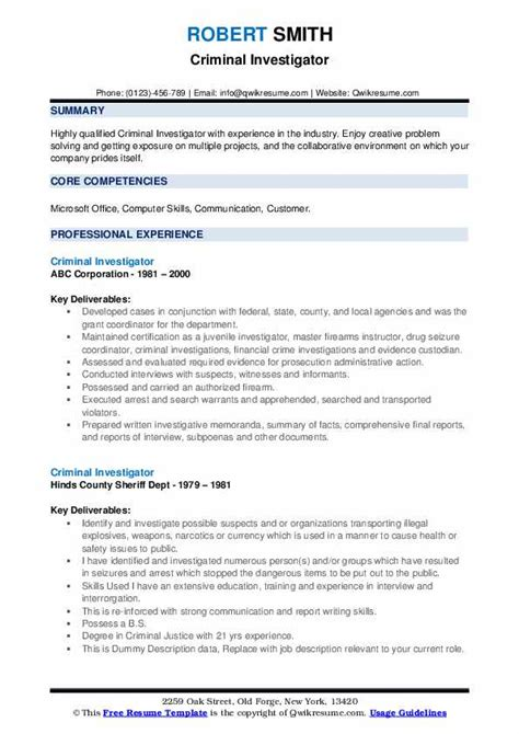 criminal investigator resume samples qwikresume
