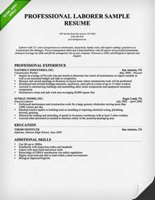 simple resume for construction laborer construction worker resume sle resume genius