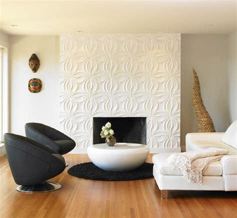 wall decor tiles contemporary living room with 3d wall panel featuring flower shaped fireplace wall feature