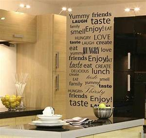 Unique kitchen wall art ideas decozilla for Kitchen colors with white cabinets with word wall art stickers