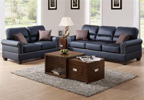 nailhead trim sofa set modern 2 pcs sofa loveseat set black bonded leather