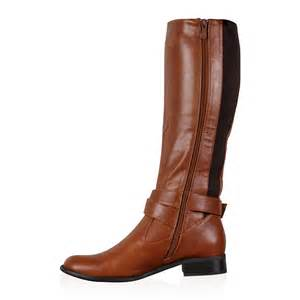 womens boots ebay size 8 womens brown faux leather winter knee high boots shoes size 3 8 ebay