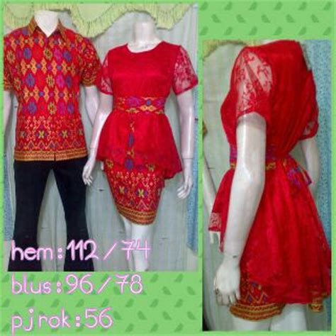 jual dress model rok  blus batik kombinasi brokat