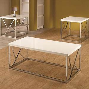3 piece occasional table set in chrome with white top for Nebraska furniture mart living room tables