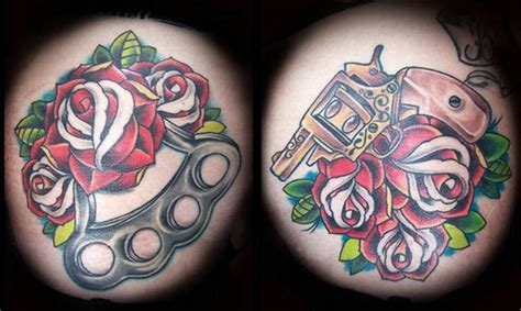 The Gallery For --> Brass Knuckles And Guns Tattoo