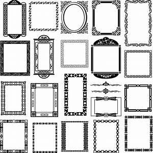 4-Designer | Black and white pattern frame corners 01 ...