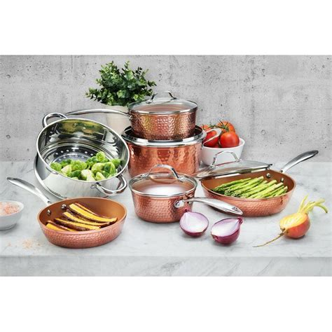 gotham steel hammered copper  piece ceramic  stick cookware set cookware set gotham