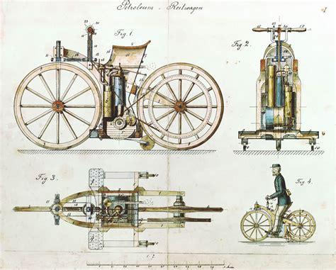 Daimler Reitwagen Color Drawing 1885 De Patent 36423
