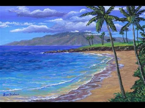 pintar la playa tropical  acrilicos sobre tela youtube