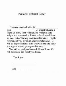 Reference Letter Template For Employee Referral Letter