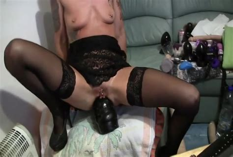Skinny German And A Huge Dildo In Her Ass Bizarre Porn