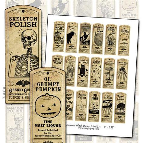 halloween witch potion label digital collage sheet bat