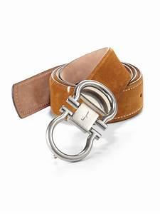 Ferragamo Double Gancini Adjustable Suede Belt in Brown ...