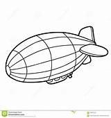 Coloring Airship Cartoon Children Vector Illustration sketch template