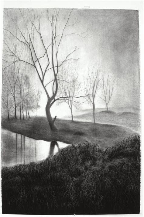 large scale charcoal drawing  paper  linda kane