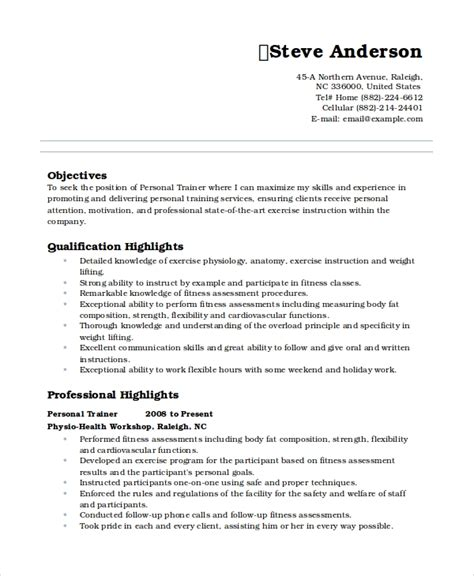 Personal Trainer Resume Templates by Personal Resume Template 6 Free Word Pdf Document