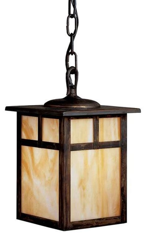 craftsman style hanging outdoor light kichler lighting 10958cv alameda arts and crafts mission