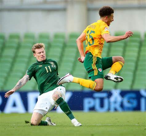 James McClean receives red card for late tackle on Ethan ...