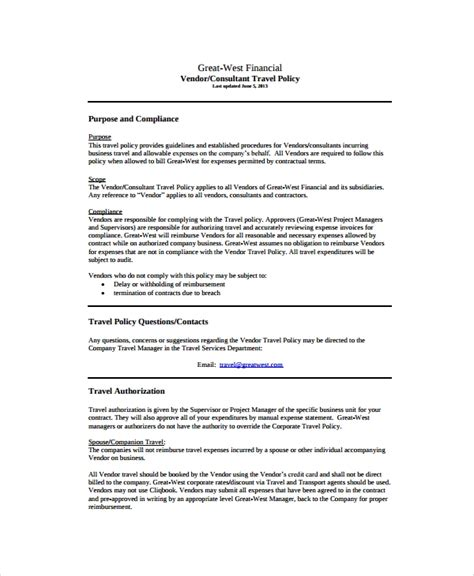 sample travel policy templates  ms word