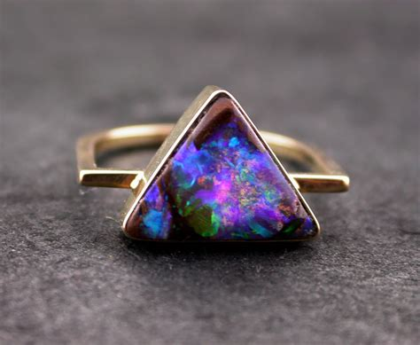 Opel Rings by Australian Opal Ring Boulder Opal Ring Triangle Geometric